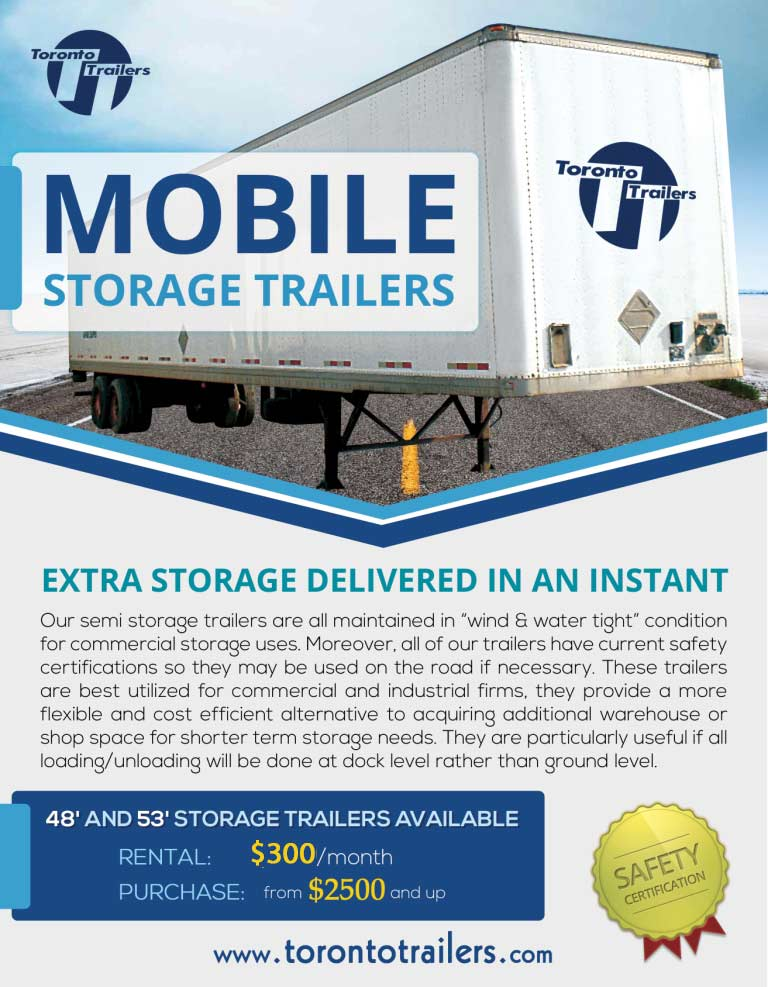 Mobile storage trailers for rental and sale